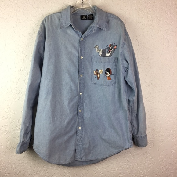 dfd5a70d13 Tom and Jerry Warner Brothers denim shirt M retro